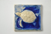 "4"" tile with recycled glass by A. Thody Arts"